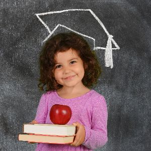 IMAGE: Young girl holding books and an apple and standing in front of blackboard with graduate hat
