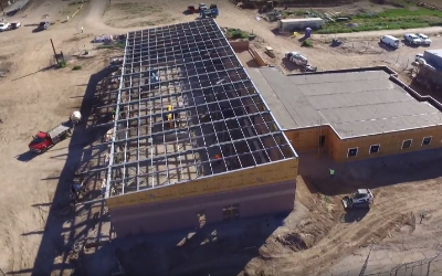 IMAGE: Ariel view of steel rafters completed on the new transportation center.