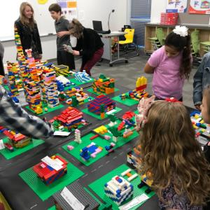 IMAGE: Students display LEgo Robotics Projects.