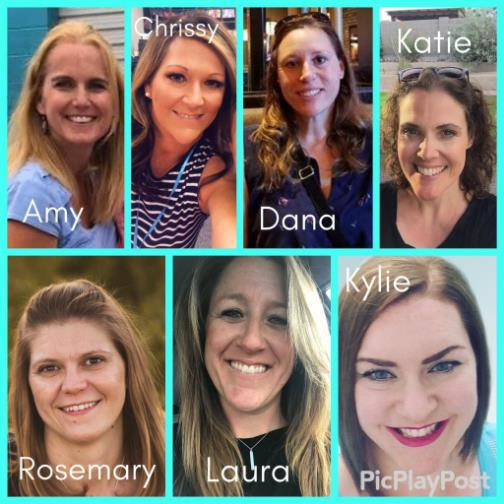 IMAGE: 2019-20 PTO MEmbers: Amy, Chrissy, Dana, Katie, Rosemary, Laura and Kylie.