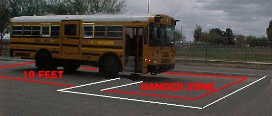 School Bus Danger Zone (10 ft surrounding bus)