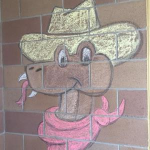 Rattlesnake Ridge Mascot drawn in chalk