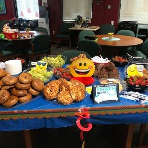 Marana Dental Care Breakfast Spread with Bagels, Juices, Fresh Strawberries and more!