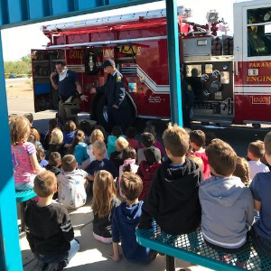 Golder Ranch Fire Department Firetruck and Students
