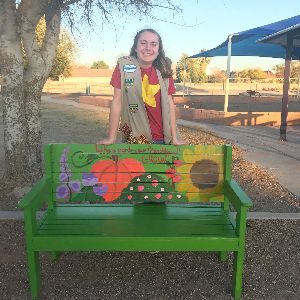 "Kaya Glasner, Marana High School student, creates ""Buddy Benches"" supporting friendship and kindness."