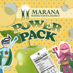 Power Pack Mascots and logo with a green apple and nutrient label