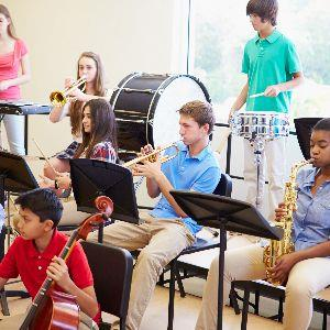 Students participating in band class
