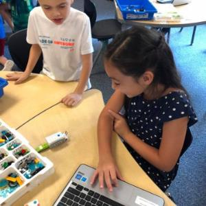 IMAGE: Students working in Ms. Erbe's Class with Lego Robotics