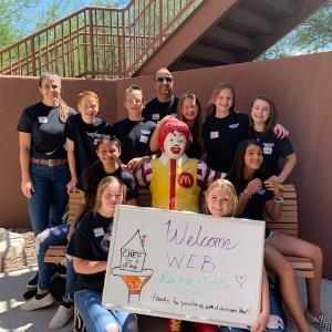 IMAGE: Marana Middle School's amazing WEB Leaders pose with Ronald McDonald