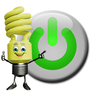 MUSD Energy Saver Mascot turning off a power button