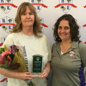 IMAGE: Mary Butler, Support Staff of the Year with Principal Brewer.