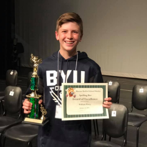 IMAGE: William Parry Earns 2nd Place in 2019 District Spelling Bee
