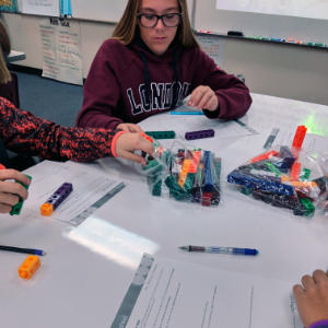 IMAGE: Students using Math Link Cubes