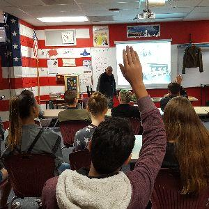 U.S. Veterans of World War II and Korean War meet with Tortolita Middle School Students