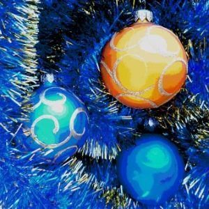 IMAGE: Multicolored holiday decorations and garland