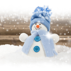 IMAGE: Snowman with blue wrap & hat on blanket of snow.