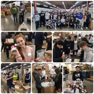 IMAGE: Multiple images of MVHS Wrestlers Volunteering