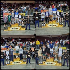 IMAGE: Wrestlers standing on podiums receiving medals. (see caption in article)