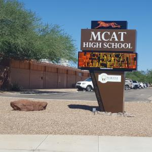 IMAGE: New MCAT High School Marquee.