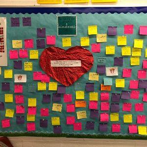 Bulletin board showing each act of random kindness