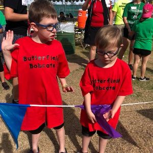 Joey & Aiden at the Track & Field Special Olympics Event