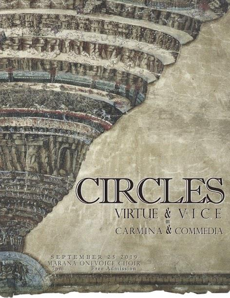 IMAGE: Circles, Virtue & Vice in Carmina & Commedia  Performance Poster