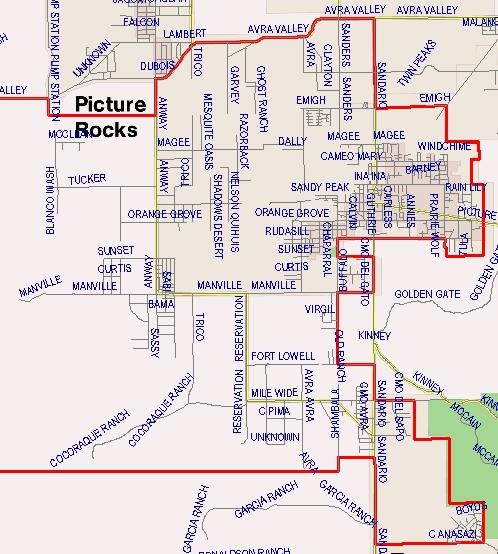 Picture Rocks Elementary Boundaries Map (Written description available on this page)