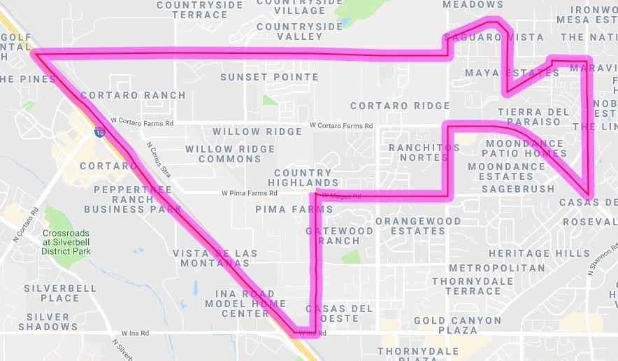 Quail Run Elementary School Boundaries Map (See written description on this page)