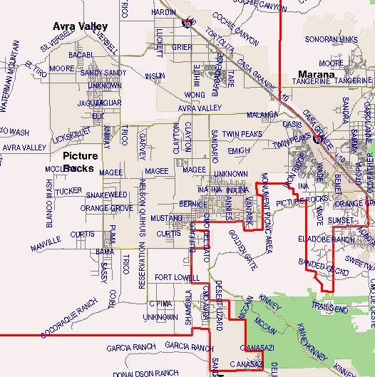 Marana Middle School Boundaries Map (Written description available on this page)