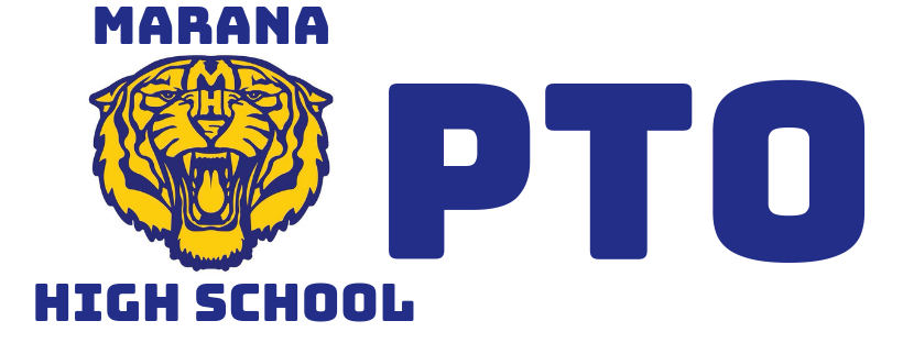 Marana High School PTO with Tiger Mascot.
