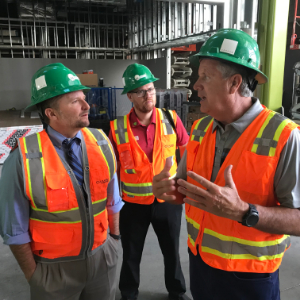 IMAGE: MUSD's Dr. Doug Wilson discussing construction process with Pima County Sup Dustin Williams.