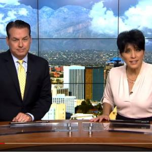 IMAGE:  Screen shot from new broadcast of Anchors on KGUN 9 discussing DMK8 first day of school.