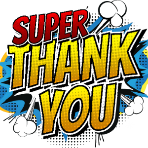 IMAGE: Super Thank You written in graphic novel style.