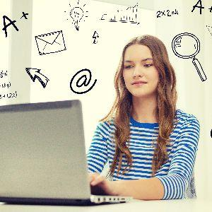 IMAGE: Female student at mobile device with images of problem-solving in the background.