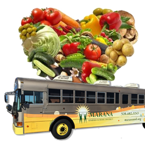 Heart made of healthy Food and Marana Cares Mobile Food Bus