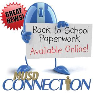 MUSD Connection Mascot Holding Sign that Back to School Paperwork Is Now Available Online!
