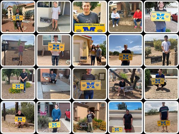 IMAGE: Collage of MHS and MVHS students with Class of 2020 Yard Signs