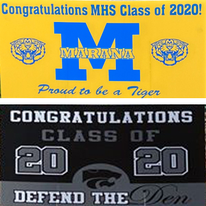 IMAGE: Yard signs for MHS and MVHS class of 2020