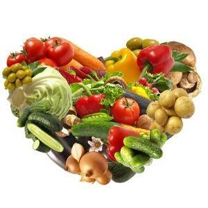 Heart made up of food