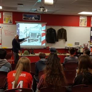 IMAGE: Art Ehramjian, U.S. Army Air Corps talks with Tortolita students.