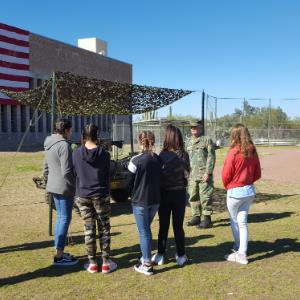 Tortolita students view artifacts and restored military vehicles.