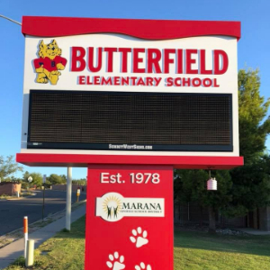 Butterfield Elementary School Newly Installed Marquee