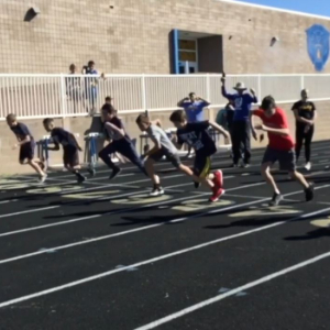 IMAGE: Elementary students start a race at the Annual District Elementary Track Meet.