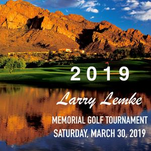 Image: 2019 Larry Lemke Memorial Golf Tournament Saturday, March 30, 2019 with water, golf course, mountains