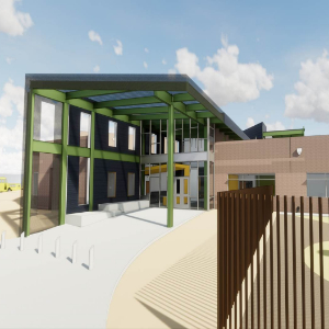 IMAGE:  Main Entry to New K-8 CSTEM School in DOve Mountain.