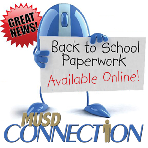 IMAGE: MUSD Connection Blue Mouse mascot announces back to school paperwork available online!