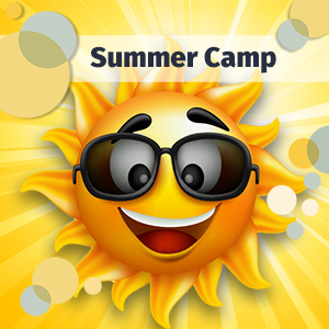IMAGE: Smiling Sun announcing Summer Camp Information.