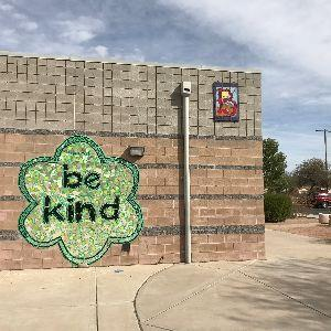 Be Kind Mural on CTE Wall at entrance to Courtyard
