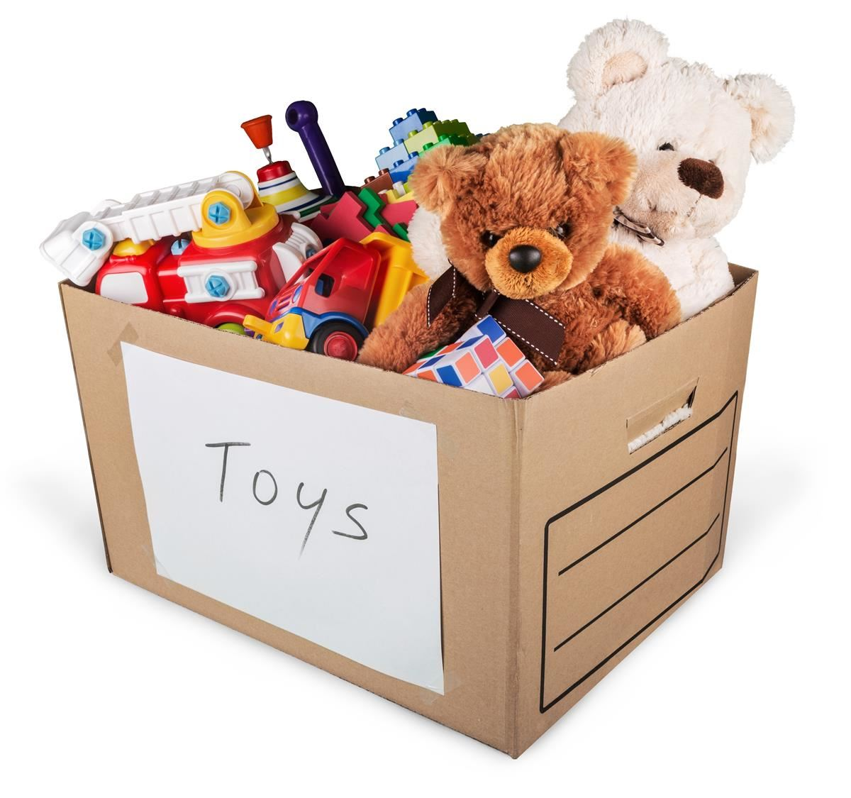 Box full of toy donations